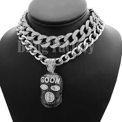 "Hip Hop Large Masked Goon Pendant  /& 16/"" Full Iced Cuban Choker Chain Necklace"