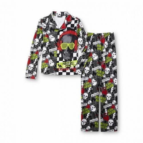 Lot Of 3 New Joe Boxer Size 4//5 Footed Pajamas Skulls Flames Youth Boys Or Girls
