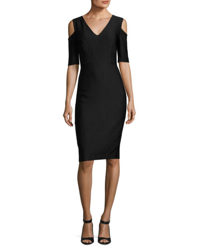 JAX Half-Sleeve Cold-Shoulder Sheath Dress Black NWT MSRP $158
