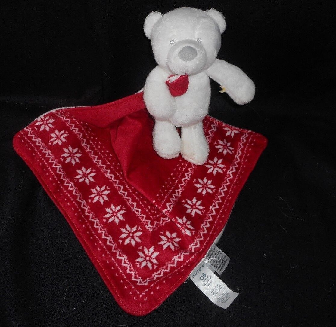 CARTER'S BABY TEDDY BEAR ROT SECURITY BLANKET RATTLE STUFFED ANIMAL PLUSH TOY