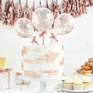 Image Is Loading Rose Gold Mini Balloon Wands Birthday Cake Topper