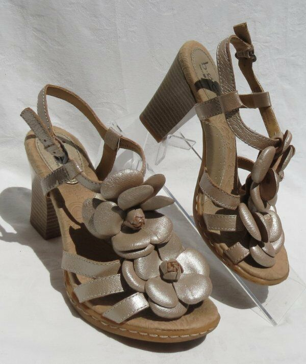 BOC BORN CONCEPTS Women's Pearlized Leather Floral Sandals shoes size US 6 36.5