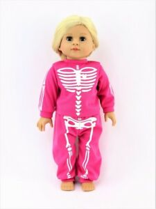 "Hot Pink Skeleton Halloween Pajama Pant Set Fits 18/"" American Girl Doll Clothes"
