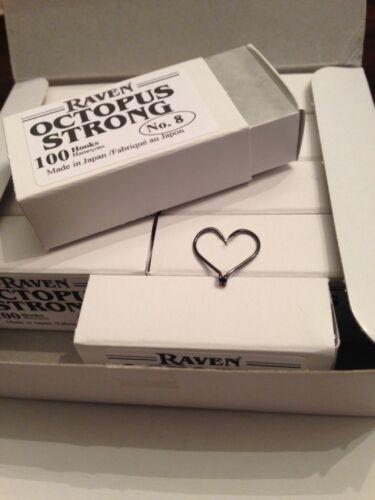 Size 8 Raven Octopus Hooks 100 Ct Box