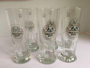 Set-of-6-BRAUEREI-RAPP-German-Beer-Glasses-3-liter-with-Prancing-horses-logo