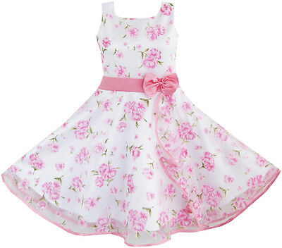 Sunny Fashion 3 Layers Girls Dress Pink Flower Wave Pageant Wedding SZ 4-12