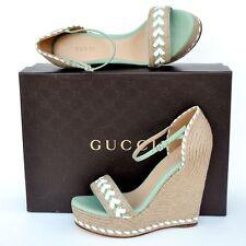 GUCCI New sz 37 7 Designer Platform Wedge Heels Womens Sandals Shoes Espadrille