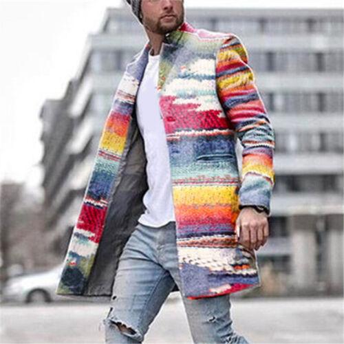Men/'s Warm Lapel Collar Trench Coat Overcoat Long Sleeve Outwear Jacket Winter