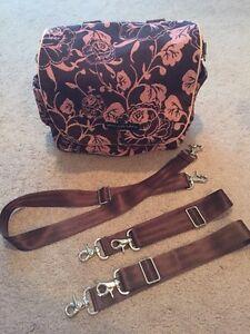 petunia pickle bottom boxy style backpack book bag diaper bag pink brown floral ebay. Black Bedroom Furniture Sets. Home Design Ideas