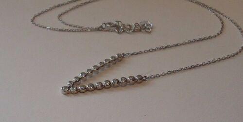 925 STERLING SILVER 18/'/' V SHAPE NECKLACE PENDANT W// .75 CT LAB DIAMONDS