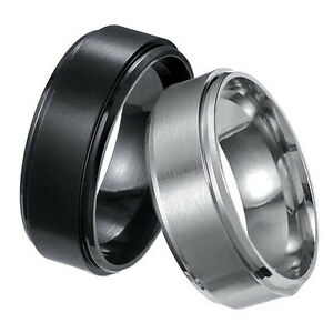 Women-Man-Stainless-Steel-Titanium-Wedding-Band-Ring-Black-Gold-Silver-Size-7-12