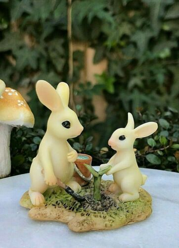 Miniature FAIRY GARDEN Figurine ~ Mini White Rabbit Gardener w Little Bunny