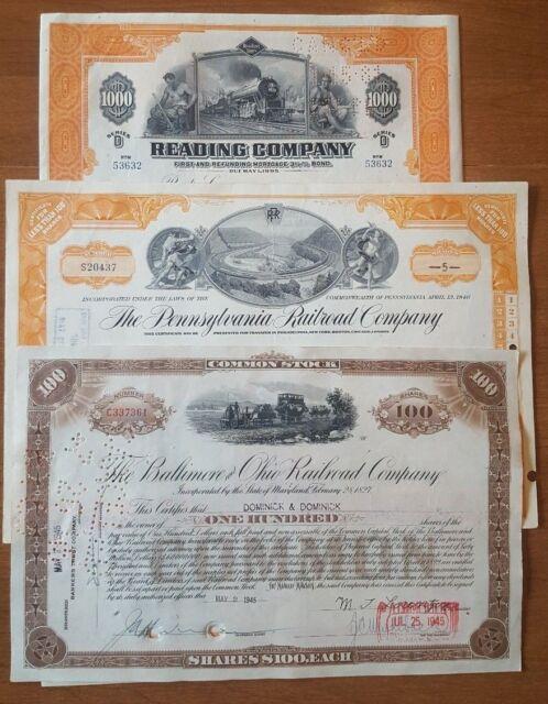 Monopoly railroads /> Reading B/&O Pennsylvania Set of 3 stock certificate