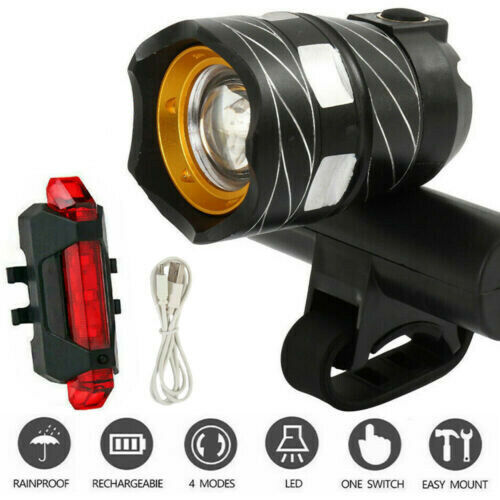 T6 LED Rear/&Front Set 15000LM Bicycle MTB Lights Bike Headlight USB Rechargeable