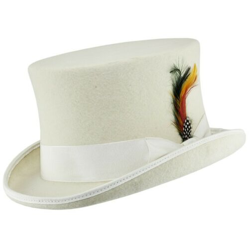 White Top Hat100/% Wool Felt Supreme Quality Wedding Ascot Party  Sales