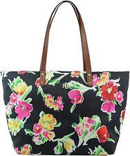 RALPH LAUREN Handbag---Bainbridge Black/Floral Nylon Tote Zip Top NEW $128.00