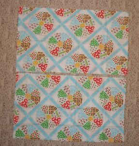 2 Vintage Floral Patchwork Pillow Cases Blue Quilt Design No Iron Muslin USA