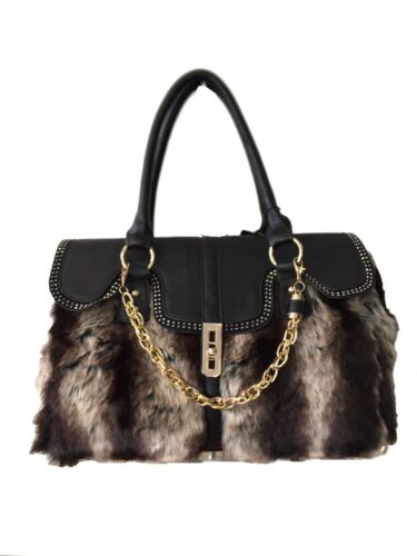 Handle tan Fur Top New Black Handbag Shoulder Chain Designer Ladies Winter Womens Bag TZwqR