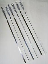 NEW 6 SPRING HANDLE EASY GRIP LONG KEBAB STICK SKEWERS BBQ 55cm PRIMA