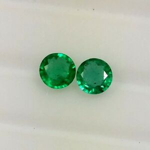 0-54ct-Natural-Emerald-Round-Green-Color-Good-Luster-Matching-Pair-Gems