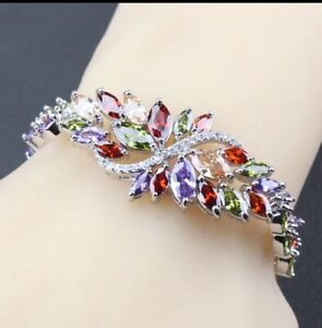 Peridot-Garnet-Amethyst-Topaz-Multi-Gemstones-925-Silver-Bracelet
