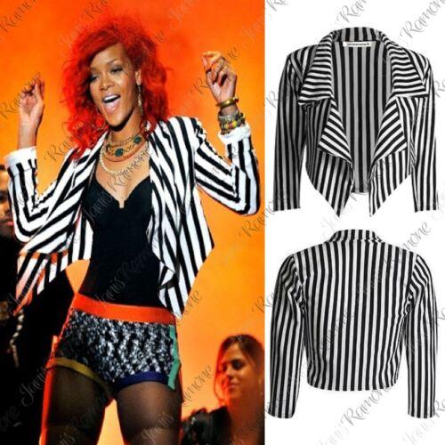Crop Rayé Blanc Cascade Nouveau Blazer Cascade Ouvert Jacket Top Noir Femme 5xxfYqnW