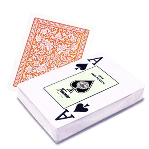 FOURNIER 2818 100/% PLASTIC PLAYING CASINO POKER CARDS DECK GREEN ORANGE SPAIN