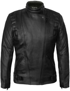 SKINTAN-Ladies-Leather-Motorcycle-CE-Armoured-Women-Motorbike-Black-Biker-Jacket
