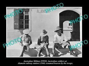OLD-POSTCARD-SIZE-PHOTO-AUSTRALIAN-MILITARY-WWII-TROOPS-AT-ALAMEIN-STATION-1940