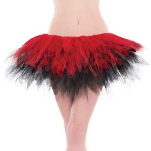 935667669 Detalles de Mujer Rojo Negro Malla Falda Tutú para Disfraz Harley Cosplay  Bufón Accesorio