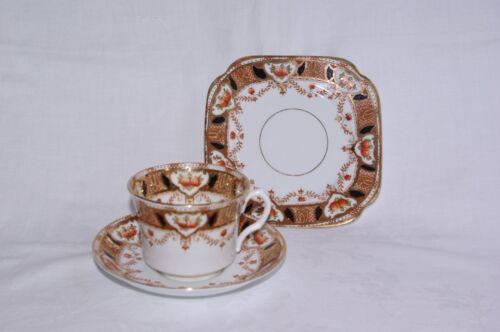 Roslyn Bone China Art Deco Imari Tea Cup Trio
