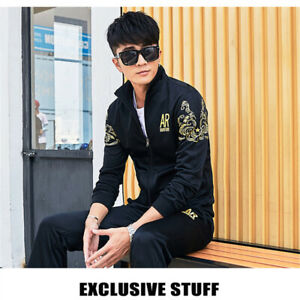 2Pcs-Set-Men-Jacket-Pants-Tracksuit-Sport-Jogging-Athletic-Sportswear-Casual-NEW