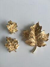 Vintage Trifari Gold Tone  Leaf - Clip Earrings and Pin Set (R13)