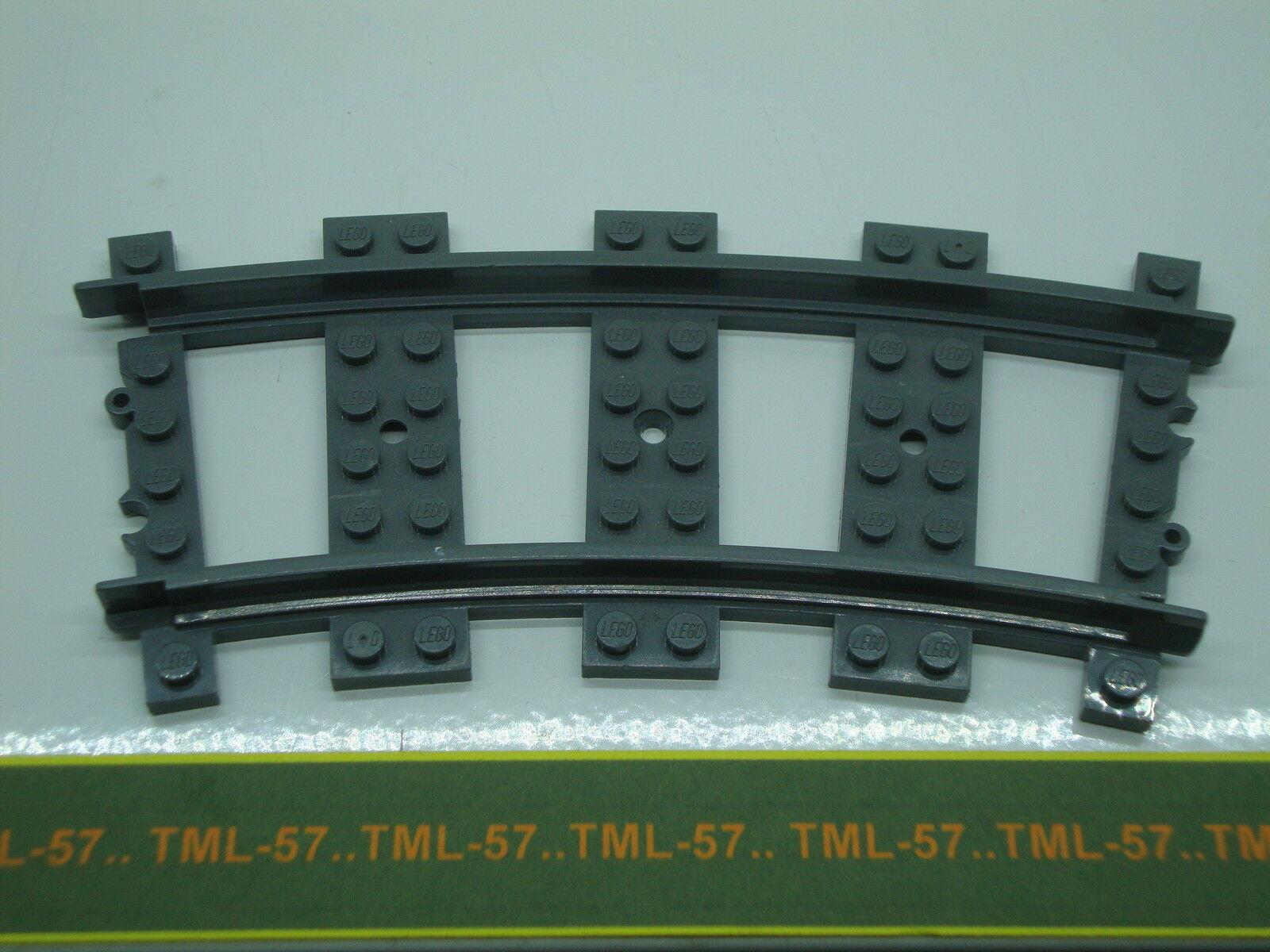 Légo TRAIN LEGO CITY - RAIL courbe en plastique grau foncé COURBE - Lot de 15
