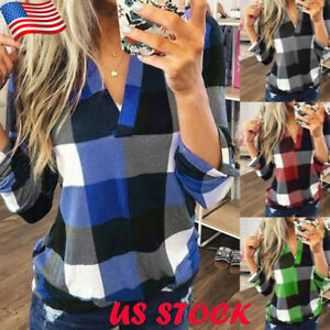 Women-039-s-V-Neck-Plaid-T-Shirt-Tops-Ladies-Casual-Long-Sleeve-Blouse-Tee-Plus-Size