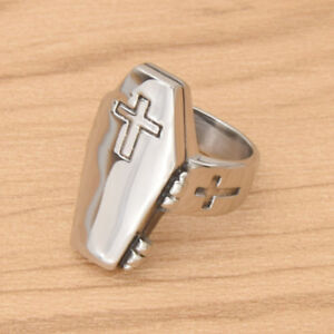 Rock-Punk-Cross-Rings-Stainless-Steel-Men-Women-Silver-Coffin-Finger-Ring-Gifts