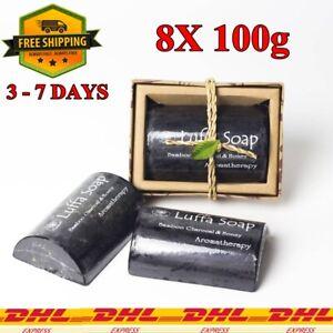 8X Luffa Scrub Soap Bar Charcoal Honey Herbal Scrub Skin Body Facial Anti-Acne