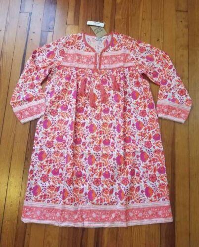 Nuevo Para Mujeres S M L talla blockprints para J Crew Leyla encubrimiento vestido en Naranja Rosa
