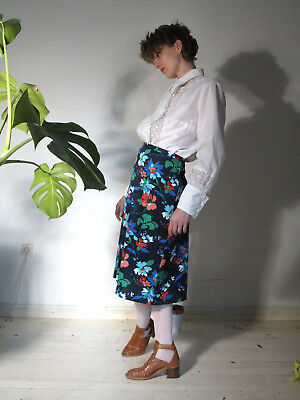 Donna Gonna Rock Nero Con Fiori 70er True Vintage 70s Women Skirt Flower Power-