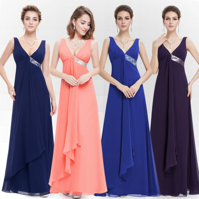 UK Sexy V-neck Evening Long Gown Party Prom Bridesmaid Dress 09981 Ever Pretty