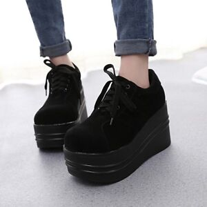 Women-039-s-Lace-Up-Gothic-Punk-Platform-High-Heel-Round-Toe-Low-Top-Shoes-Creepers