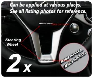 2x-Aluminium-Mercedes-Benz-AMG-Steering-Wheel-Badge-Logo-Emblem-Sticker-Various