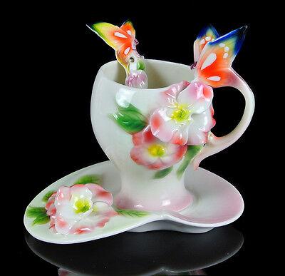 Porcelain Azalea Flower Butterfly Whter Coffee Tea  Cup Saucer Spoon Daily Use