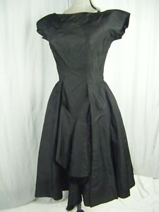 LORD-amp-TAYLOR-5th-Ave-Vtg-50s-Black-Fringe-Bows-Party-Dress-Bust-35-2XS-XS