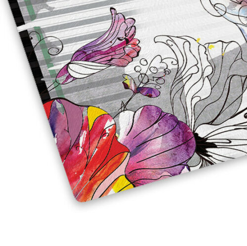 Colourful Flowers Glass Chopping Board Kitchen Worktop Saver Protector