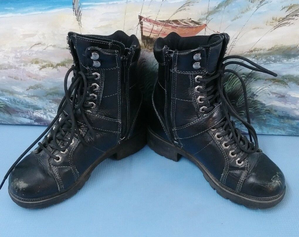 Harley Harley Harley Davidson Women's Black Leather Boots US  85280 Size 5.5 2f6fbf