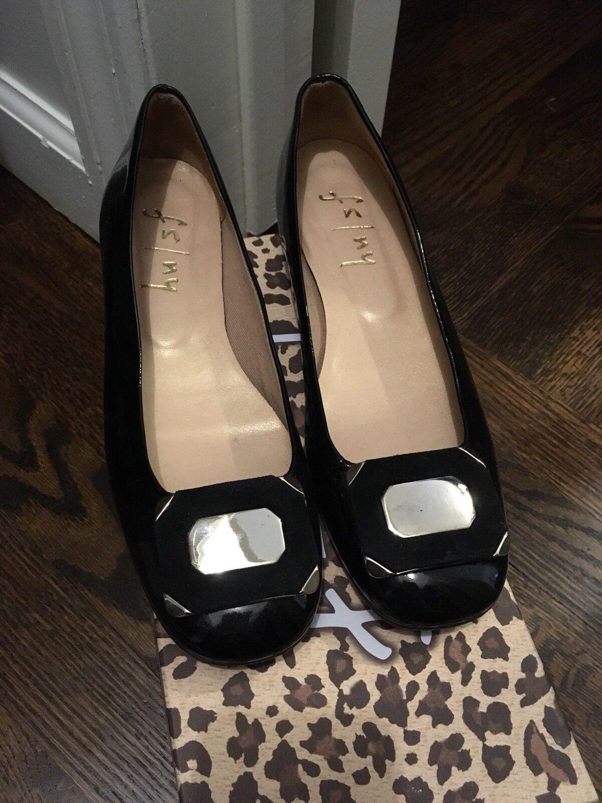 French Sole FSNY nero Patent scarpe With Buckle Dimensione 8 Narrow