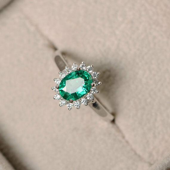 14K White gold Oval Cut Emerald Gemstone Ring 1.80 Ct Real Diamond Rings Size 6