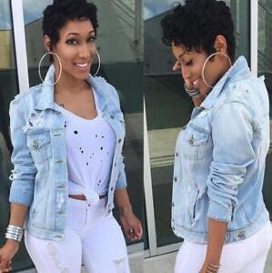 e4964eaaa4e Image is loading Women-Denim-Jeans-Jacket-Faded-Ripped-Oversized-Slim-