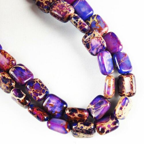 "21g 10x8x4mm Purple Sea Sediment Jasper Oblong Loose Bead 15.5/""DHS730"